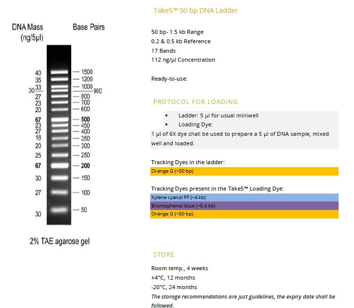 Take5™ 50 bp DNA Ladder